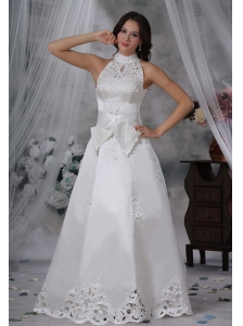 Waukon Iowa High-neck Appliques Sash A-line Bow Satin Wedding Dress For 2013 Fashionable Style