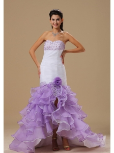Wentzville Mermaid Beaded Decorate Bust Hand Made Flower and Ruffles Ruch White and Purple Organza 2013 Prom / Evening Dress