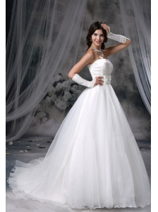 West Branch Iowa Appliques Decorate Bust Ball Gown Bowknot Chapel Train Organza Wedding Dress For 2013