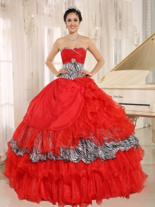 Wholesale Red Sweetheart Ruffles Quinceanera Dress With Zebra and Beading In Santa Fe