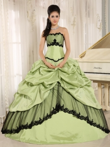 Yellow Green and Black Pick-ups Appliques Quinceanera Dress For Custom Made In Kamuela City Hawaii Taffeta
