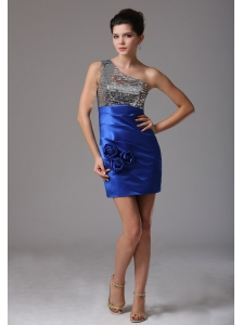 2013 Blue One Shoulder Hand Made Flowers Prom Celebrity Dress Squin In Connecticut