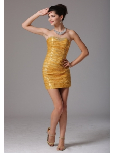 2013 Cute Gold Paillette Over Skirt Prom Celebrity Dress With Beading In Colorado