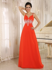 2013 Red New Style In Akron Arkansas Prom Celebrity Dress With Spaghetti Straps Appliques Decorate Waist