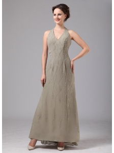 Acworth Georgia Gray Halter Chiffon Appliques Ankle-length Mother Of The Bride Dress For Custom Made