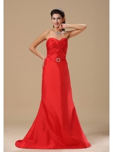 Alexandria Ruched Decorate Bust Sash With Beading A-line Satin Red 2013 Prom Celebrity Dress Brush