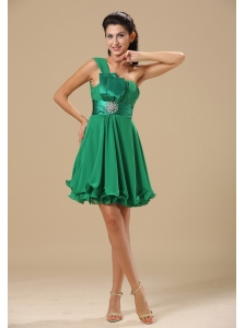 Andover One Shoulder Dark Green Chiffon Ruched Decorate Bust Knee-length 2013 Prom / Homecoming Dress