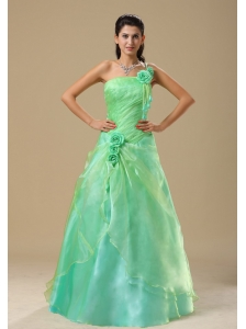 Apple Green Hand Made Flowers and Ruched Bodice Quinceanera dress