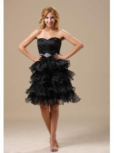 Apple Valley Ruched and Beading Decorate Bodice Ruffles Knee-length A-line Little Black Dress