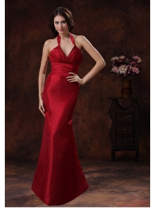 Athens Alabama Red Mermaid Halter Bridesmaid Dress In Wedding Party Wear