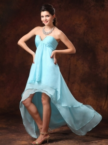 Auqa Blue High-low Empire Chiffon Sweetheart  2013 Dama Dresses for Quinceanera With Beading