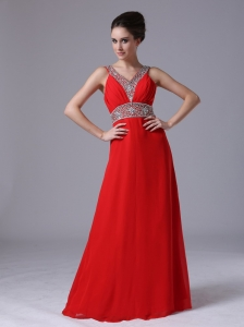 Beaded Decorate Shoulder Empire Chiffon Red V-neck Prom Celebrity Dress Floor-length