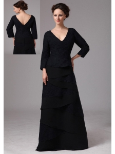 Black V-neck Layers 3/4 Length Sleeves 2013 Mother Of The Bride Dress In Dunwoody Georgia