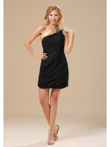 Brighton Beaded Decorate One Shoulder Mini-length Black and Gold Ruched Decorate Bodice Chiffon 2013 Little Black Dress