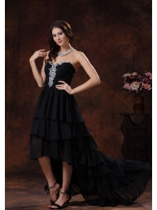 Camp Verde Arizona Sweetheart Black High-low Little Black Dress With Chiffon Rhinestones Decorate
