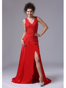 Chiffon Beading Brush/Sweep V-neck Red 2013 Prom Celebrity Dress