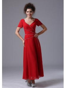Chiffon V-Neck Column Red Ankle-length Mother of the Bride Dress Short Sleeves