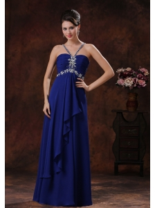 Beaded Decorate Royal Blue V-neck Prom Celebrity Dress In Grand Canyon Arizona