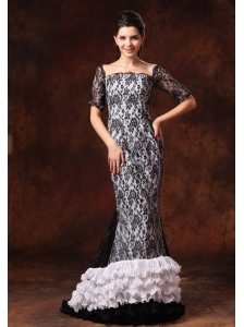 Half Sleeves Black And White Square Lace Brush Designer 2013 Prom Celebrity Gowns In Athens Alabama