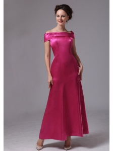 Hot Pink Off The Shoulder Ankle-length Mother Of The Bride Dress For Custom Made In Duluth Georgia