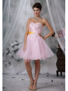 Keokuk Iowa Beaded Decorate Up Bodice Baby Pink Mini-length Prom / Homecoming Dress For 2013