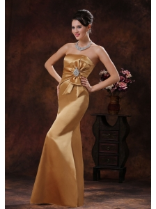 Mermaid Champagne Mother Of Bride Dress Clearance With Strapless Beaded and Bow Decorate In Pinetop Arizona