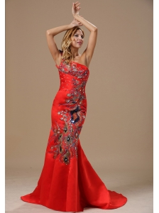 Mermaid Red and One Shoulder For 2013 Celebrity Prom Dress With Embroidery In Little Rock Arkansas