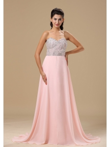 Missoula Beaded Decorate Up Bodice Sweetheart Neckline Light Pink Chiffon Brush Train 2013 Prom Celebrity Dress