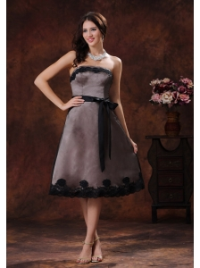 Normal Alabama Black Tea-length Strapless Sash Mother Of The Bride Dress