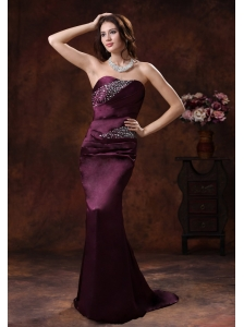 Northport Alabama Dark Purple Beaded Decorate On Satin Mermaid Mother Of The Bride Dress With Brush Train