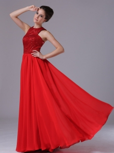 Paillette Over Skirt Chiffon High-Neck Empire Red Affordable Celebrity Prom Dress