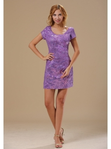 Paillette Over Skirt Mini-length Scoop Short Sleeves Sexy Style 2013 Prom / Homecoming Dress