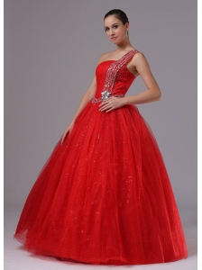 Paillette Red Military Ball Gowns With Beaded Decorate One Shoulder In Campbell California