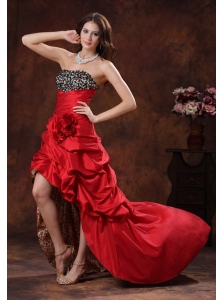 Red Leopard High-low Dama Dresses for Quinceanera Clearances With Beaded and Flowers Decorate Bust In Albertville Alabama