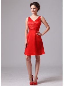 Red Ruch V-neck Satin Knee-length Celebrity Dress For Custom Made In Augusta Georgia