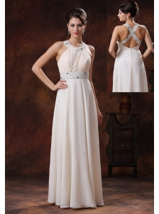 Scoop Custom Made Off White Beaded Decorate Waist Prom Celebrity Dress In Page Arizona