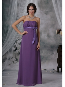 Shenandoah Iowa Ruched and Bowknot Decorate Bust Purple Chiffon Floor-length Strapless For 2013 Bridesmaid Dress