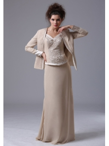 Simple Floor-length Straps Column Zipper-up Mother of the Bride Dress With Beading