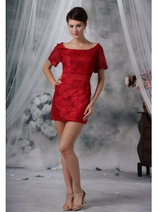 Spirit Lake Iowa Wine Red Lace Decorate Bodice Scoop Neckline Mini-length Short Sleeves Sash Prom / Cocktail Dress