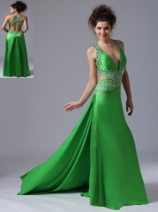 Spring Green Column V-neck Watteau Taffeta Prom Celebrity Dress Backless