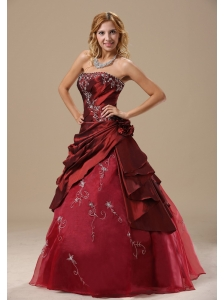 Strapless Embroidery and Hand Made Flowers In Frankfort Frankfort Dama Dresses for Quinceanera