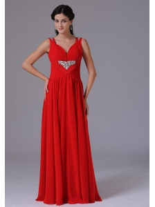 Stylish Red V-neck Beading and Ruch Prom Celebrity Dress With Floor-length In Alaska