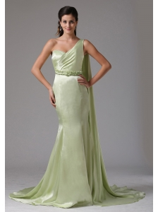 Stylish Yellow Green One Shoulder 2013 Prom Celebirty Dress With Appliques Watteau Train In Groton Connecticut