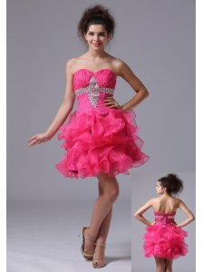 Sweetheart A-Line Mini-length Organza Beading Hot Pink Cocktail Dress