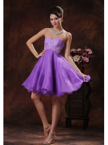 Sweetheart Lavender Cocktail Dress With Appliques Decorate Organza In Mobile Alabama