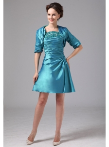 Teal Appliques and Ruch Mini-length Mother Of The Bride Dress With Jacket In Milledgeville Georgia