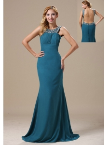 Teal Scoop Mother Of The Brides Dress With Beaded Decorate Shoulder In Atlanta Chiffon