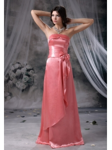 Waterloo Iowa Bowknot Beaded Decorate Bust and Waist Strapless Taffeta Watermelon Red Floor-length Bridesmaid Dress For 2013