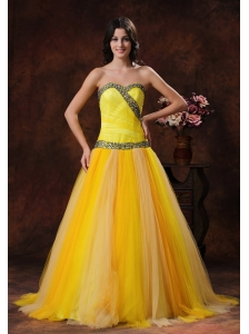 Yellow Sweerheart Beaded Decorate On Tulle Dama Dresses for Quinceanera In Phoenix Arizona