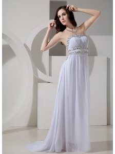 Empire Strapless Beaded Decorate Waist Sweep Train Sexy New Style 2013 Prom Gowns